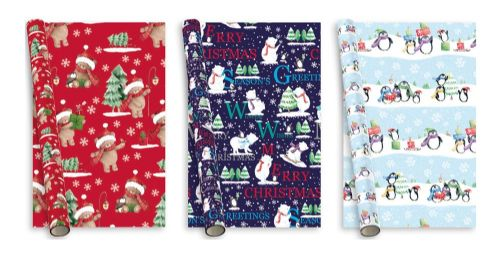 5m Christmas Gift Wrap Penguins